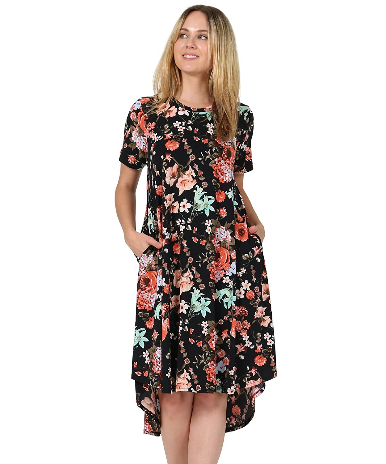 42POPS Women's Short Sleeve Round Neck Floral Hi-Low Swing Casual Dress Side Pockets MADE IN USA SI-5088