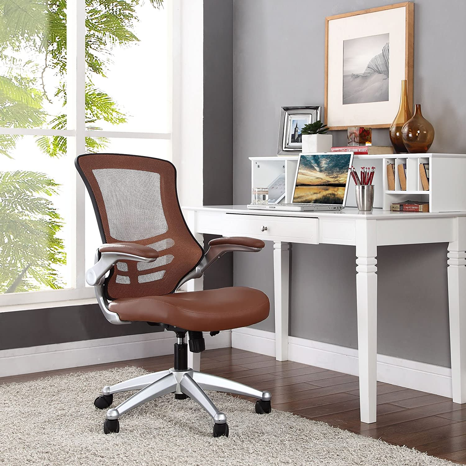 Modway Attainment Mesh Ergonomic Computer Desk Office Chair With Flip-Up Arms In Tan