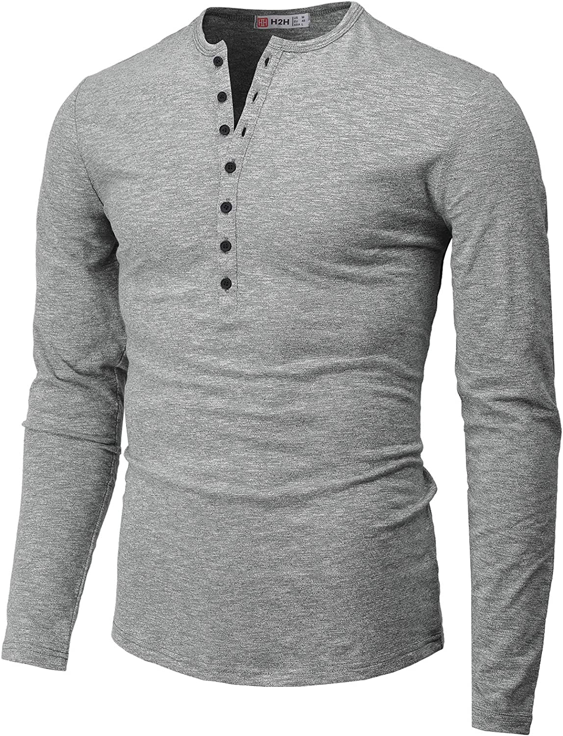 2019 Personality Mens Casual Slim Fit Long Sleeve Henley T Shirts of Waffle Cotton by G-Real