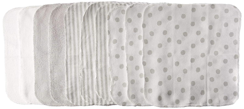 dbc98affa Amazon.com: Just Born 10-Piece Terry Washcloth, Grey, White, One Size: Baby