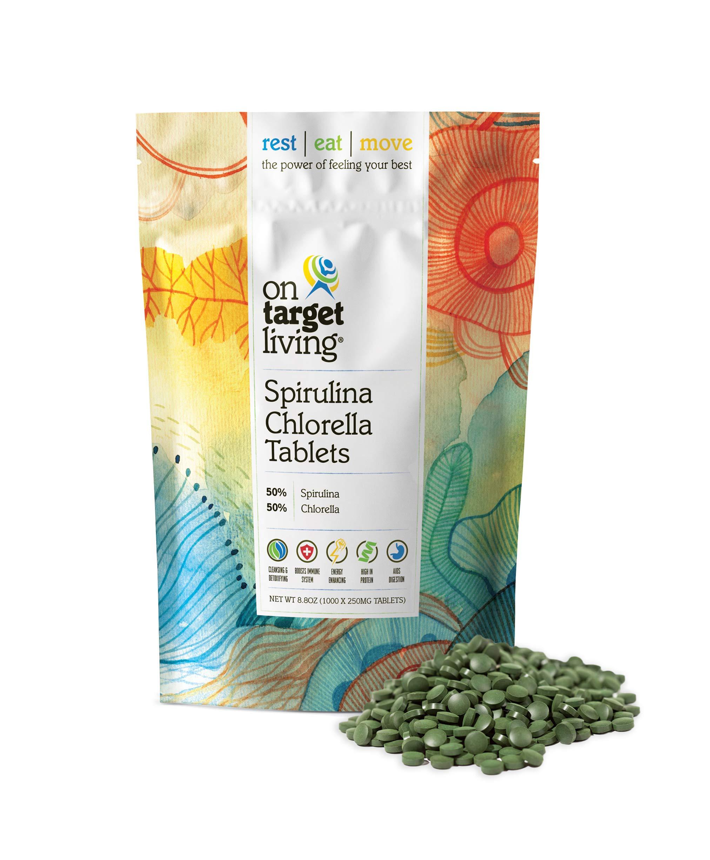 On Target Living Spirulina Chlorella   1000 Tablets- 250 G (8.8 oz)   Vegan   Immune System Boosting   Alkalyzing   Nutrient Dense   Detoxifying   Protein Dense   Energy   Recovery  