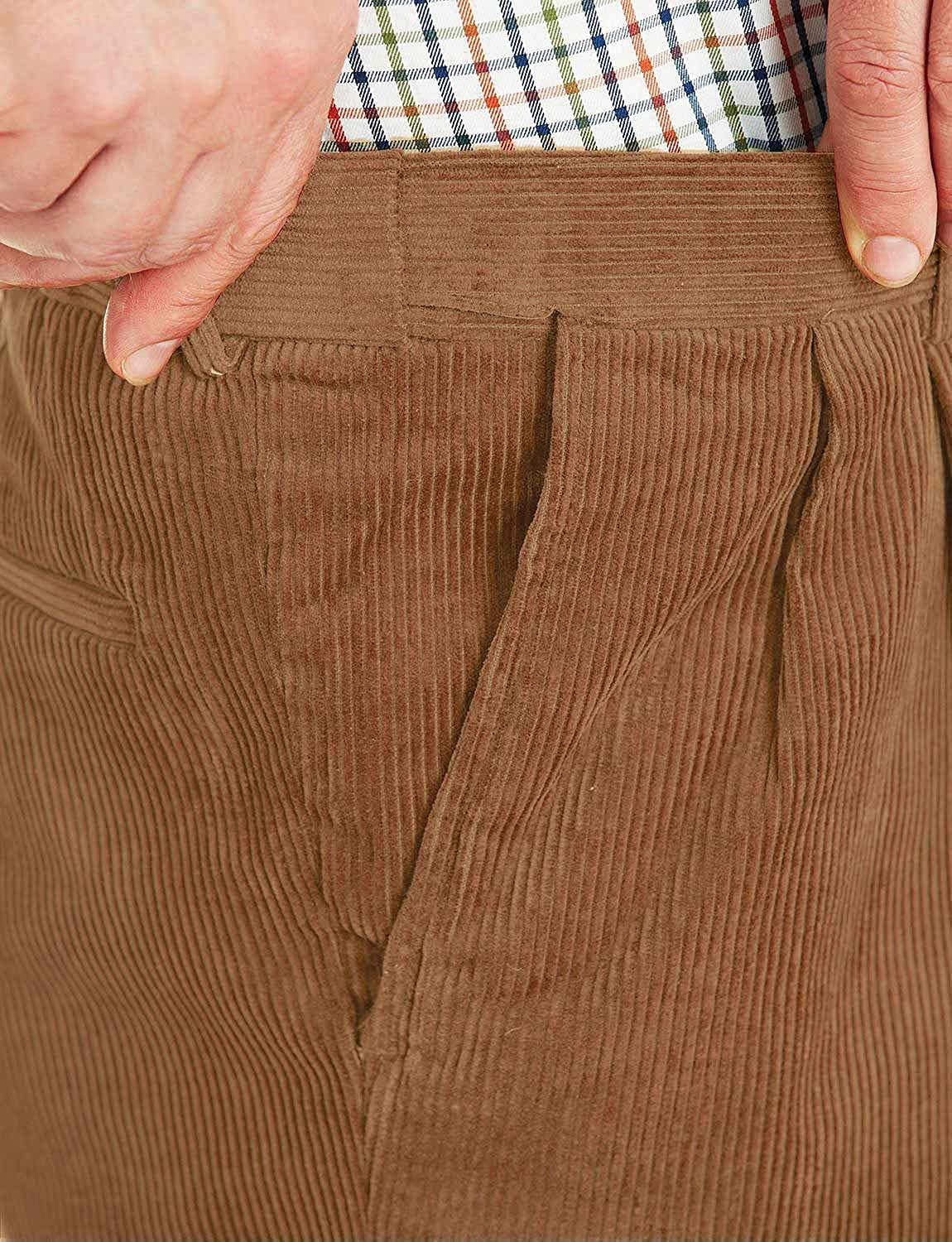 Mens Corduroy Cotton Trouser Pants with Hidden Extra Waistband Chums