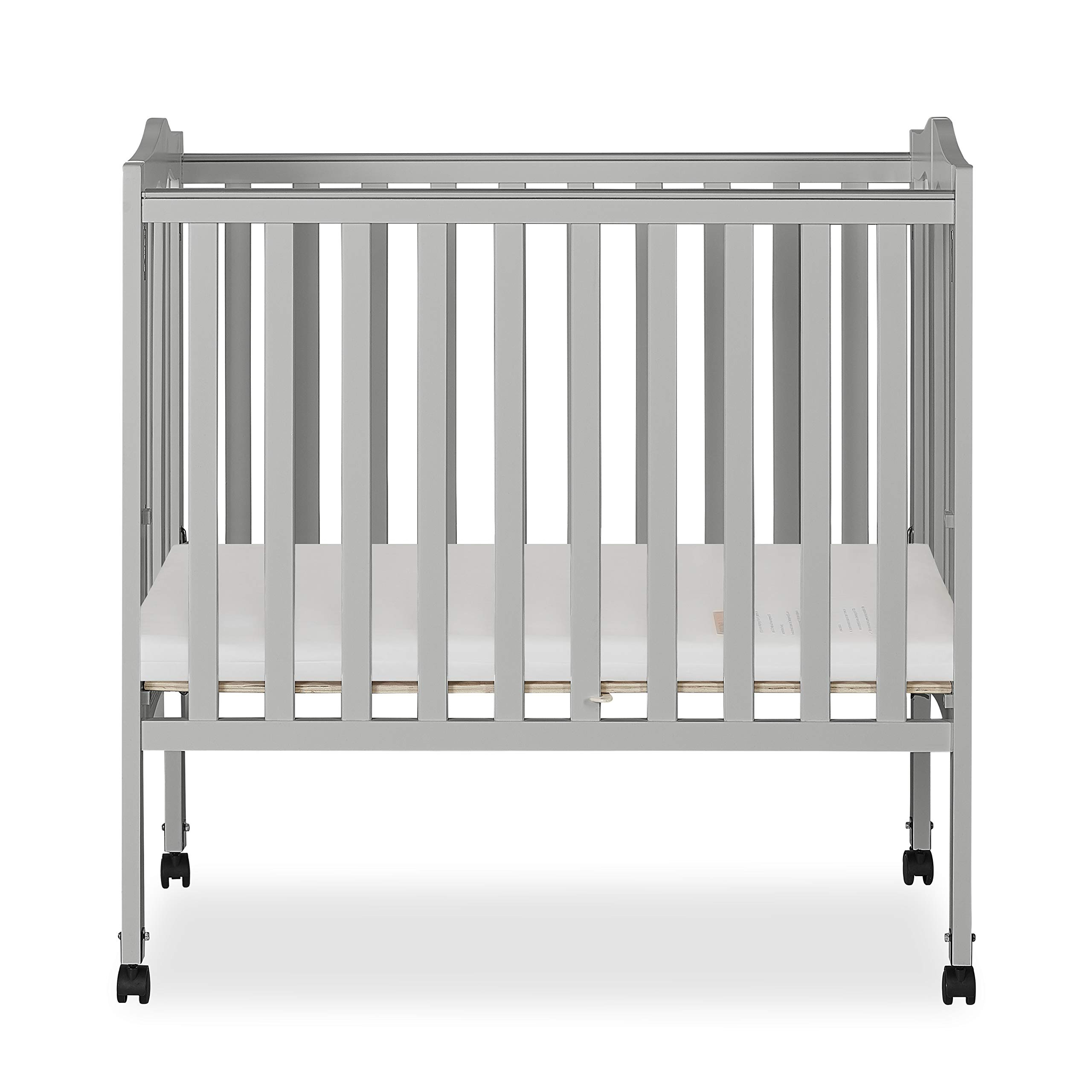 Dream On Me 2 in 1 Lightweight Folding Portable Crib, Pebble Grey by Dream On Me