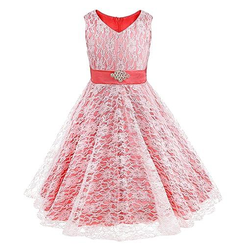 iEFiEL Kids Big Girls V-Neck Lace Flower Dress Graduation Pageant Ball Gown