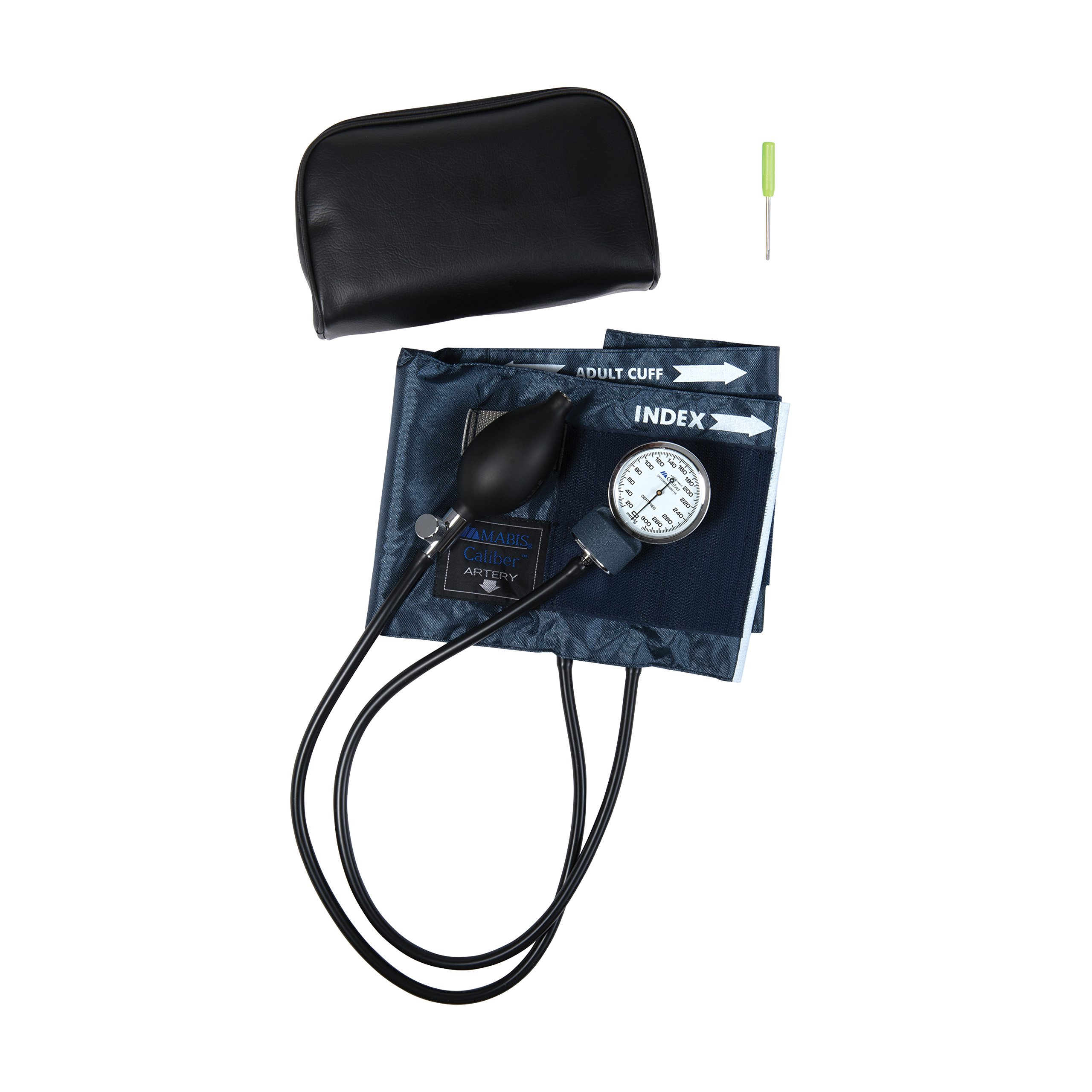 MABIS CALIBER Series Adjustable Aneroid Sphygmomanometer with Mini Screwdriver, Calibrated Blue Nylon Cuff and Deluxe Carrying Case, For Professional or Home Use, Adult, Cuff Size 11 to 16.4 Inches, Blue by MABIS DMI Healthcare (Image #2)