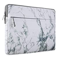 MOSISO Laptop Sleeve, Canvas Fabric Case Bag Cover for 13-13.3 Inch MacBook Pro, MacBook Air, Notebook Computer, 12.9 iPad Pro, White Marble Pattern