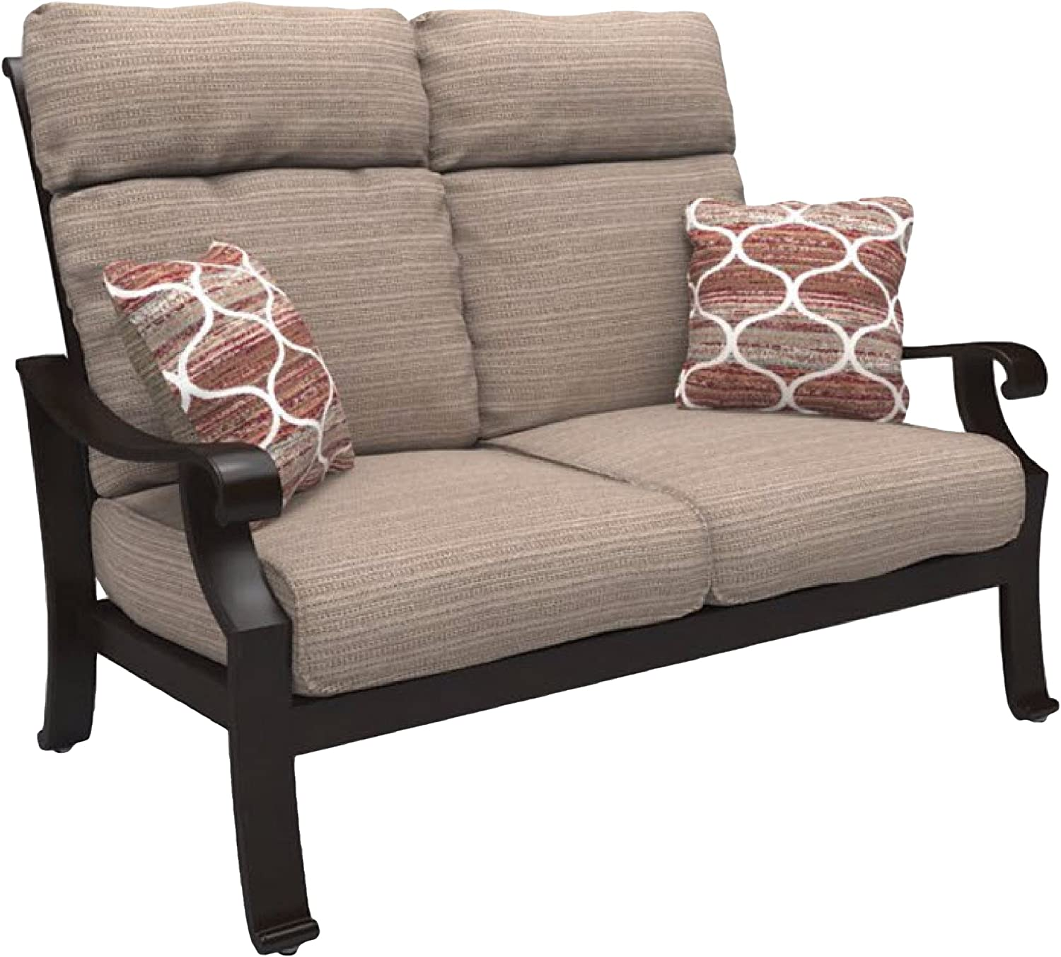 Ashley Furniture Signature Design – Chestnut Ridge Outdoor Loveseat with Cushion – Brown