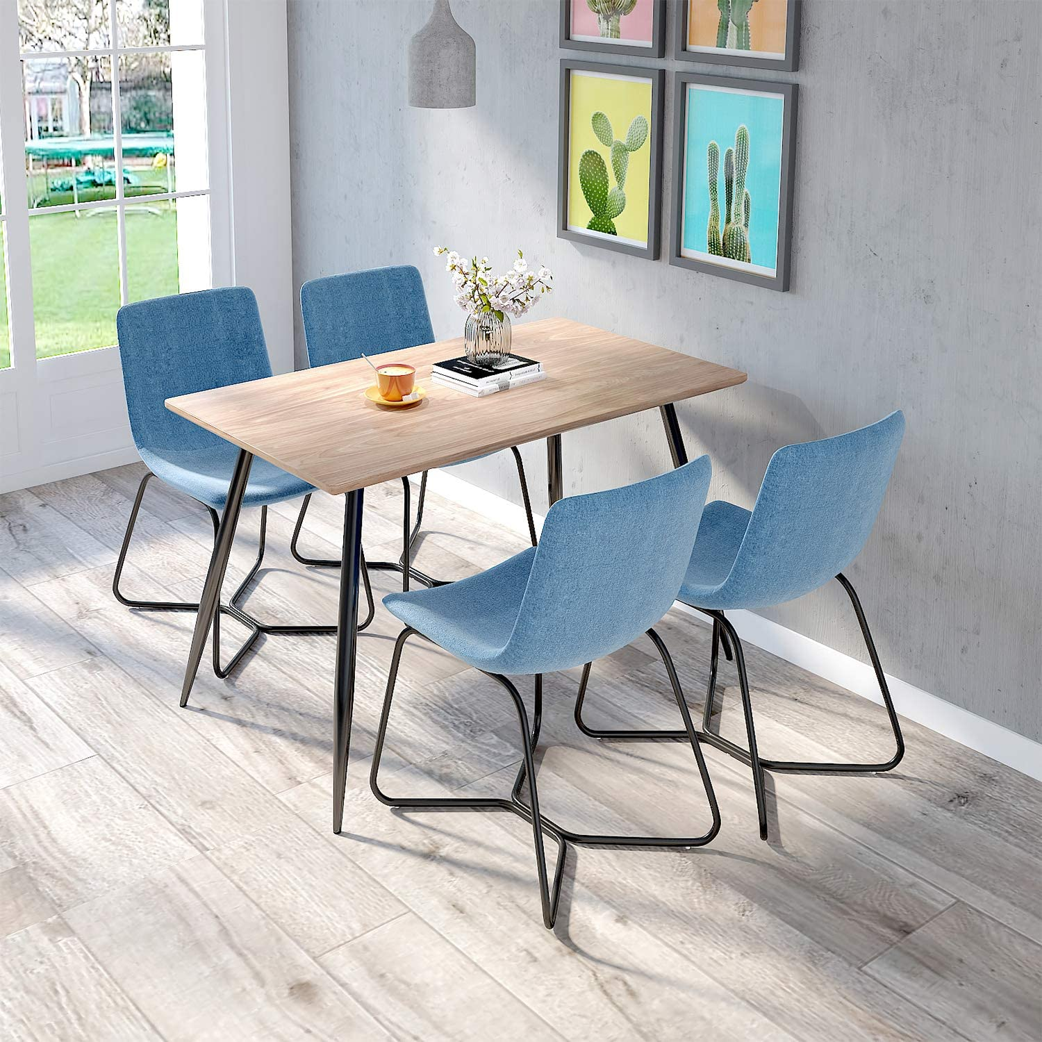 jeffordoutlet Dining Set Table and Chairs, Kitchen Fabric Seat Dining Chairs, Modern Style Metal Legs Dining Set Furniture (table + 4 blue chairs)