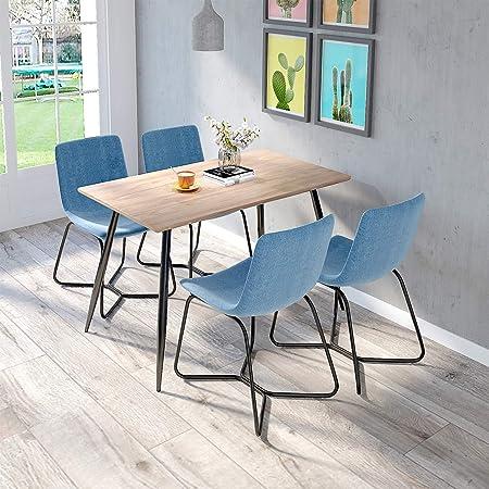 Juego de mesa y sillas, de tela de cocina, sillas de comedor, estilo moderno, patas de metal, muebles de comedor (mesa + 4 sillas azules): Amazon.es: Hogar