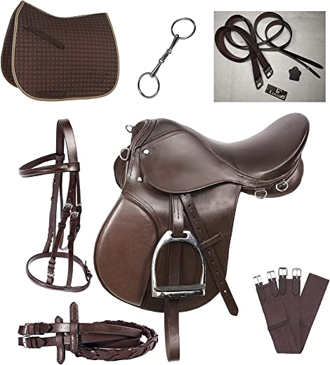 Lussoro Leather English Riding Horse Saddle Starter Kit Brown Saddle Combo Pack
