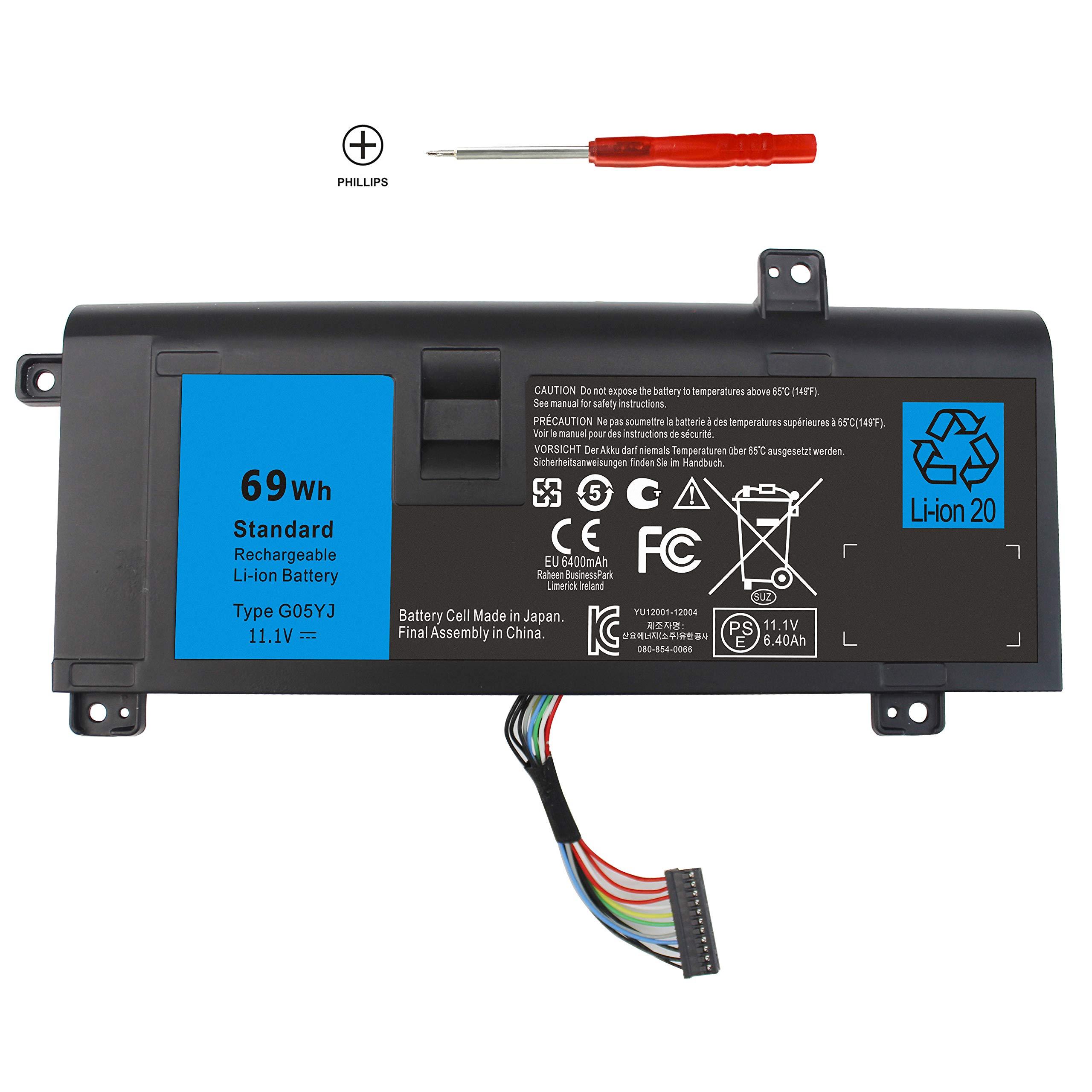 Bateria 6 Celdas Replacemnet para Dell Alienware 14 A14 M14X R3 R4 14D-1528 ALW14D-5728 ALW14D-5528 G05YJ 0G05YJ 11.1V 6