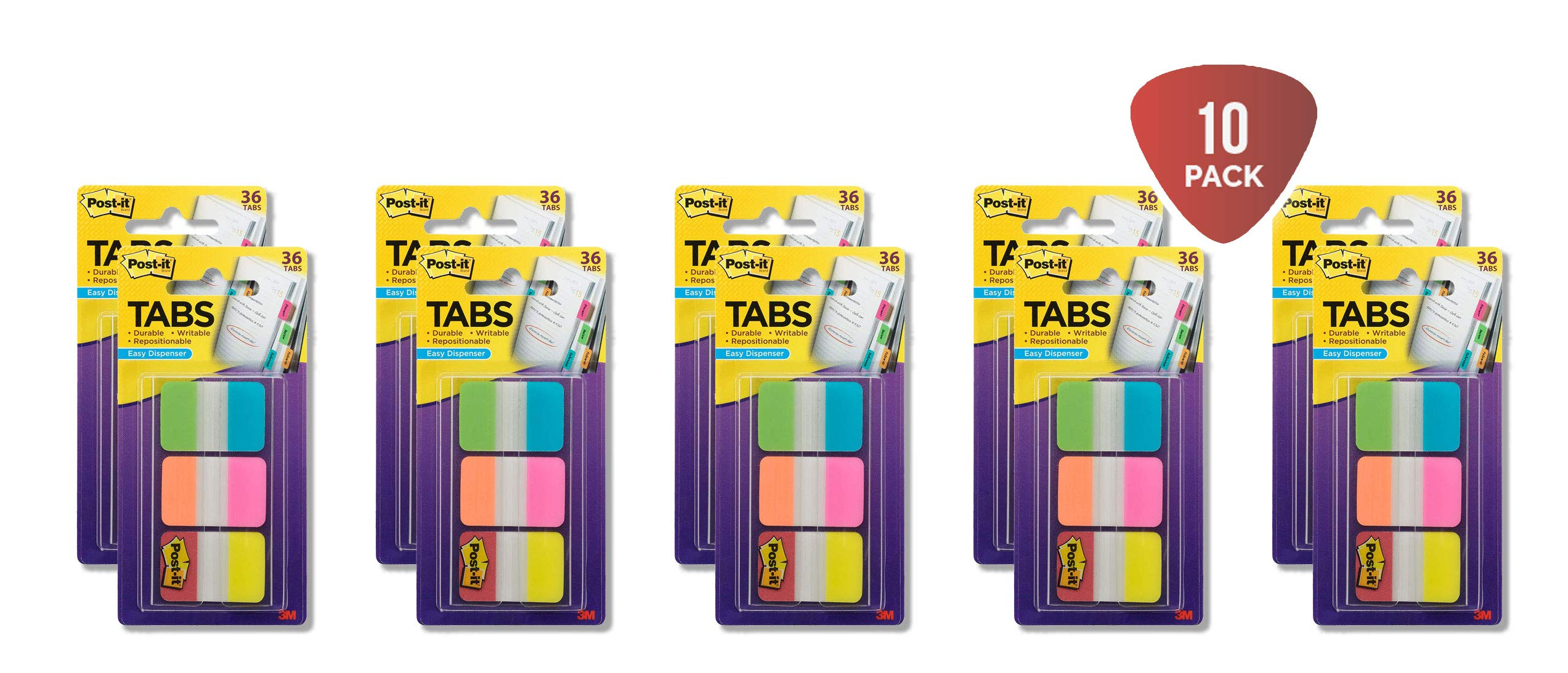 Post-it Tabs, 1 in. Solid, Aqua, Yellow, Pink, Red, Green, Orange, Durable, Writable, Repositionable, Sticks Securely, Removes Cleanly, 6/Color, 36/Dispenser, (686-ALOPRYT) 10-PACK by Post-it