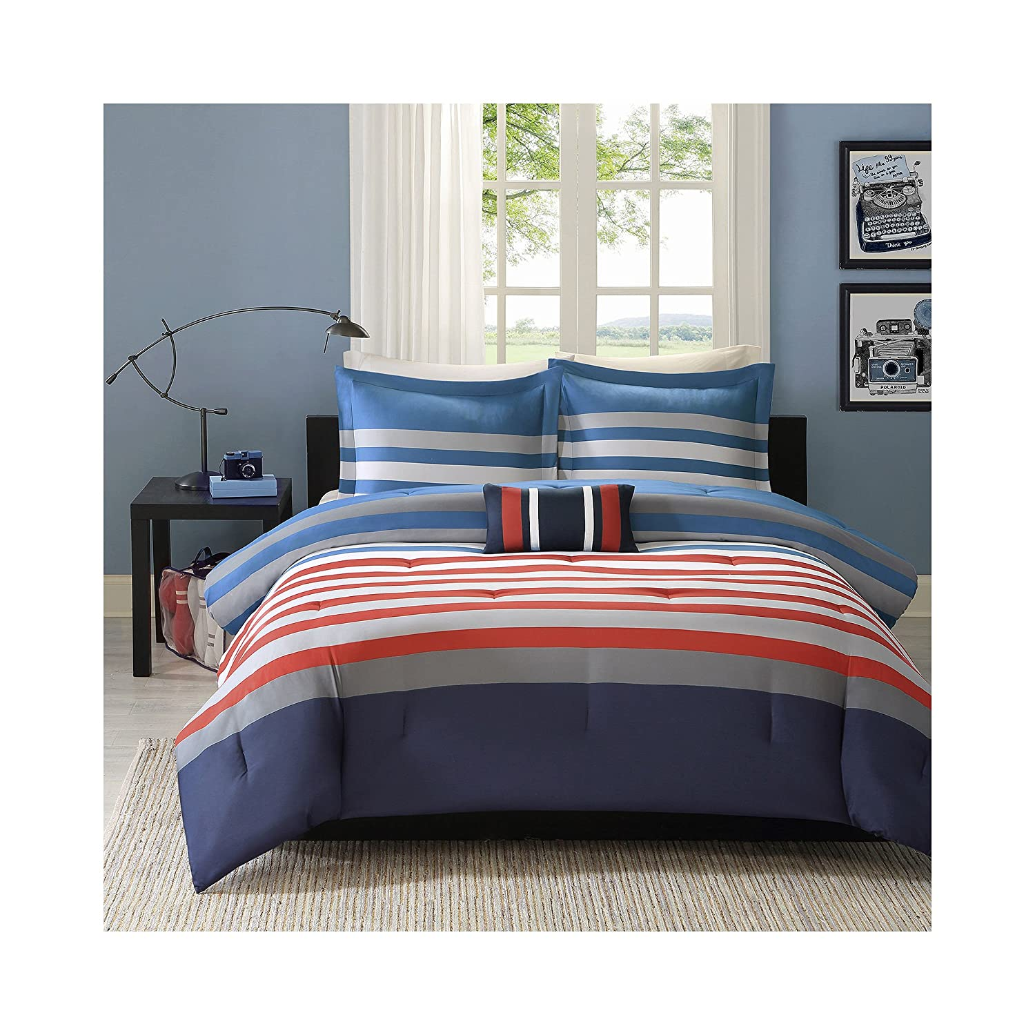 Mizone Kyle 4 Piece Comforter Set, Red/Blue, Full/Queen