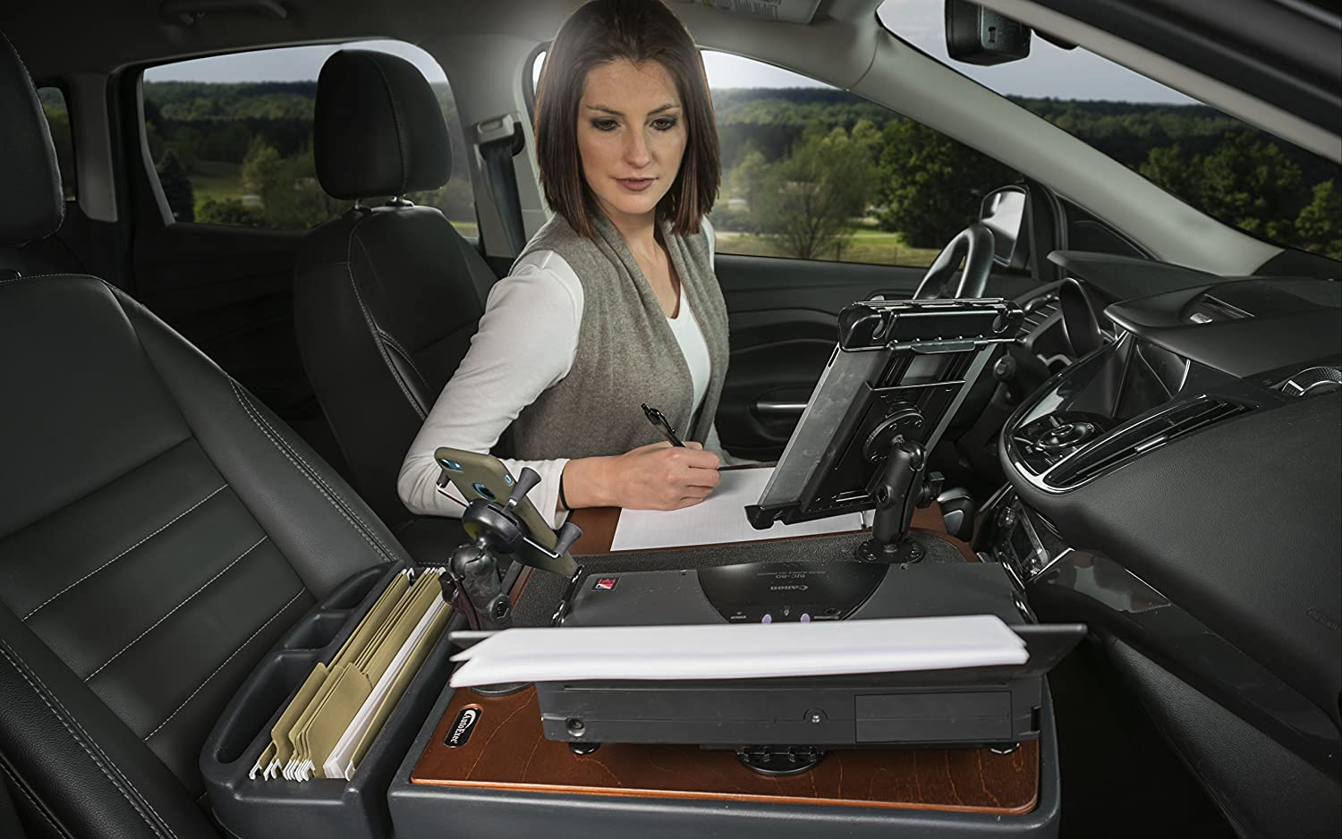 AutoExec AEGrip-03P-UC Urban Camouflage GripMaster Car Desk Finish with Printer Stand and Tablet Mount