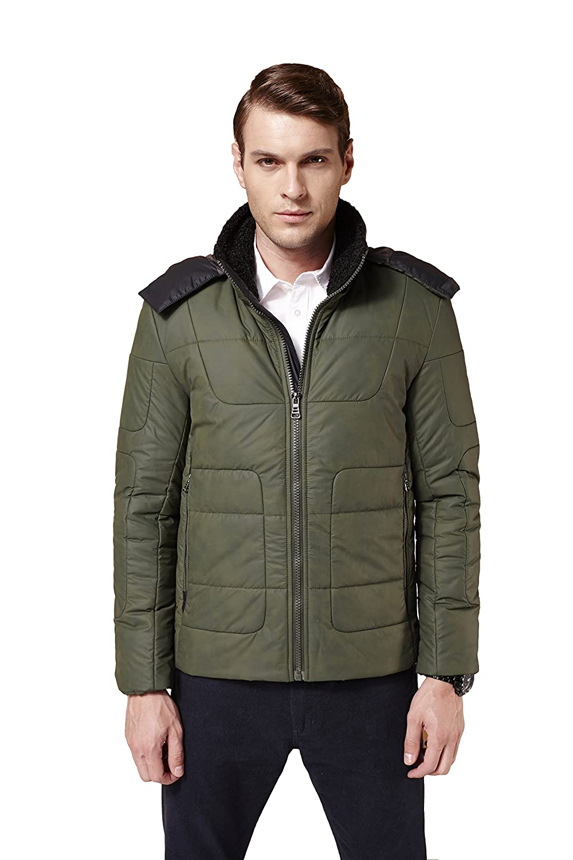 Colorfulworldstore Young Man casual cotton jacket-lamb fur collar detachable cap men's cotton warm Jacket Coat