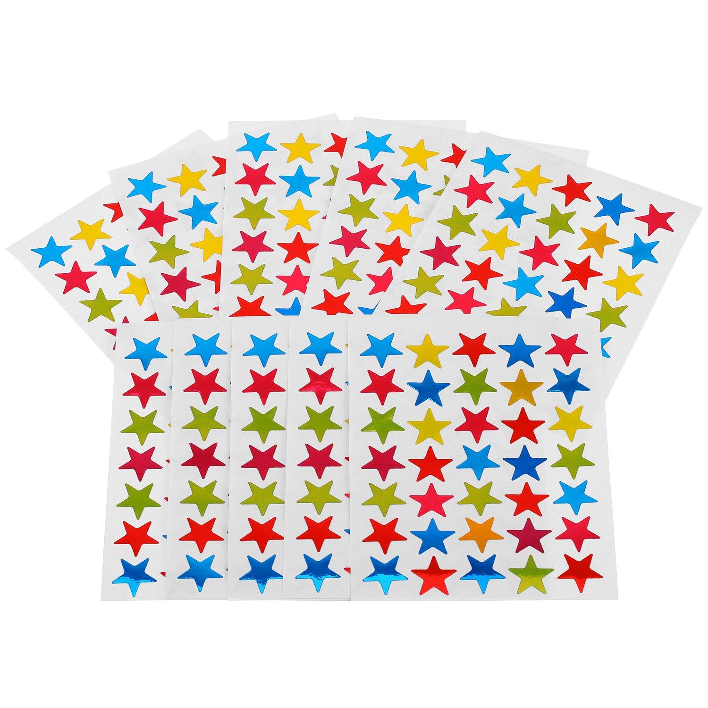 80 Feuilles Stickers Étoiles Auto-Adhésif Autocollants Étoiles, Colorés Shappy