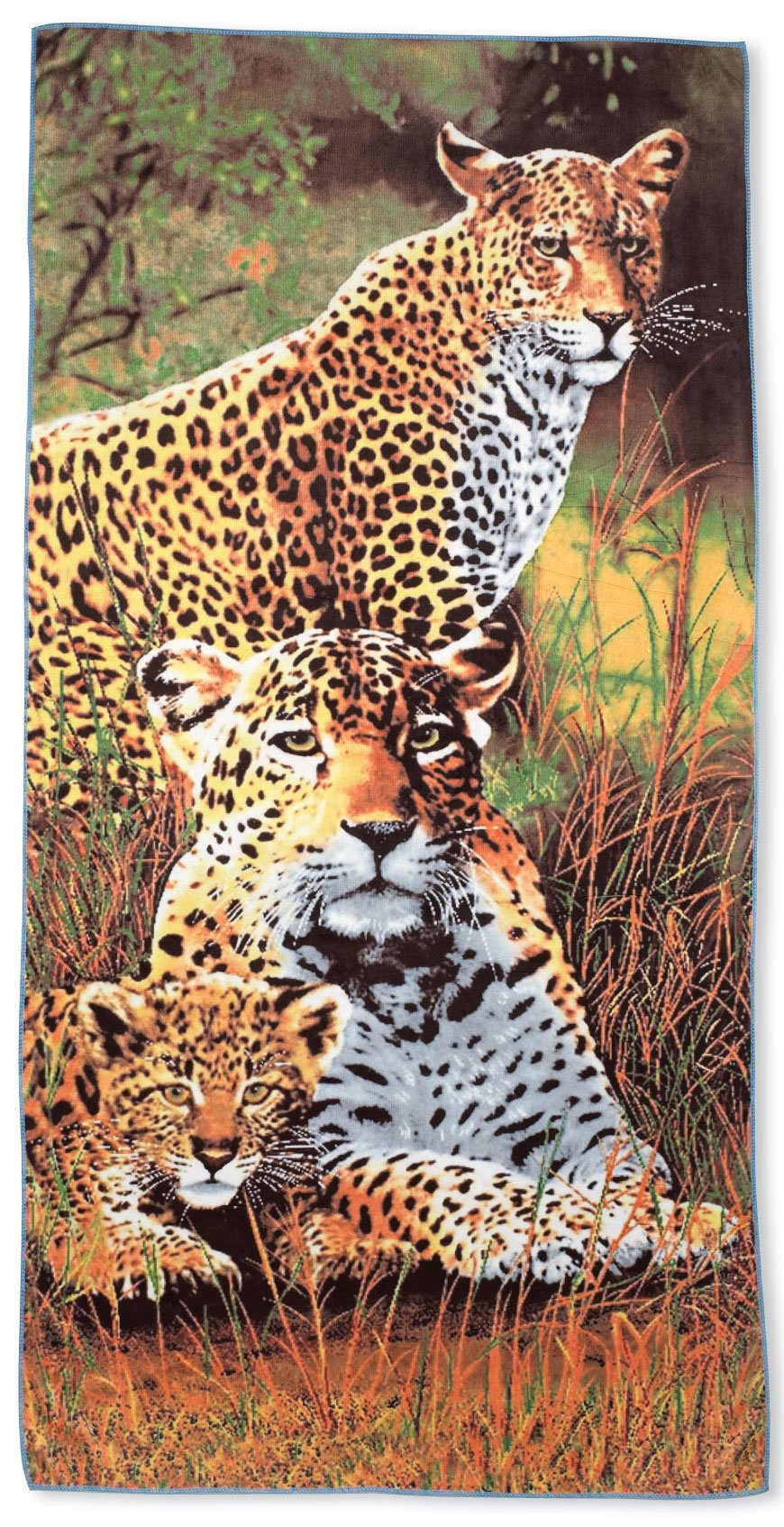 Beach Towel - Leopard Print Towel, Large, Soft, Absorbent, Fast Drying and Lightweight Microfiber, 28'' x 55''