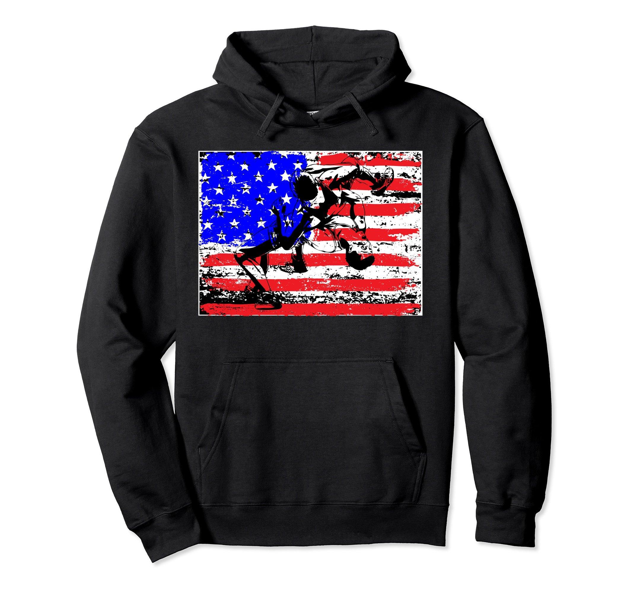 Unisex Wrestling Hoodie - Wrestling American Flag Sweatshirt 2XL Black