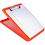 Saunders SlimMate Plastic Storage Clipboard, Letter/ A4 Size , Bright Orange (00579)
