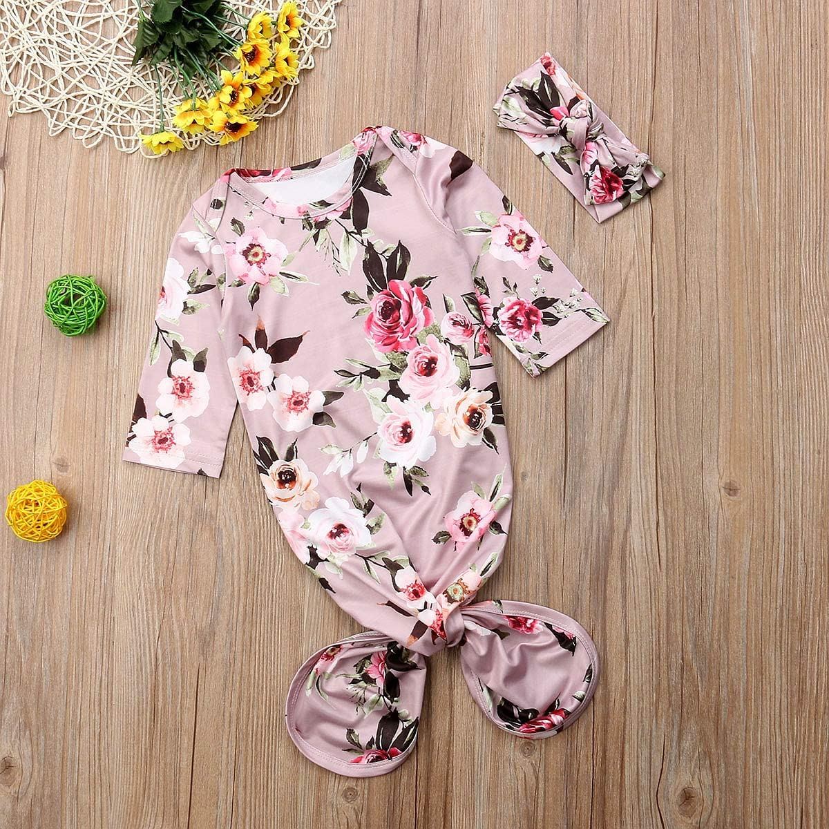 Newborn Baby Girls Floral Knotted Sleeper Infant Blanket Set with Headband Hat