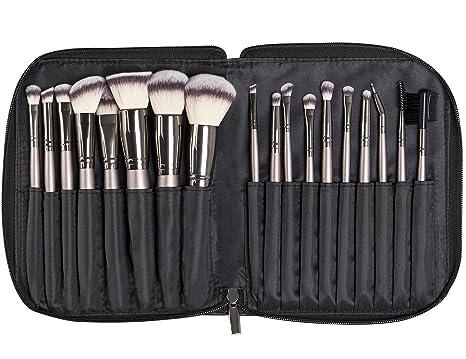 Kraumetik Juego de brochas de maquillaje, 18 piezas, incluye bolsa de poliuretano, color