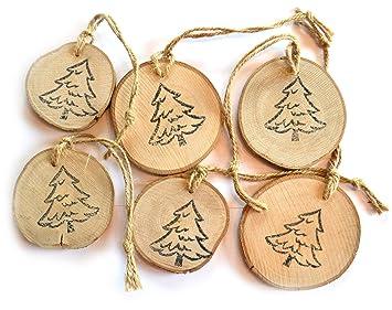 Deko Angels 6 X Holzscheiben Anhanger Weihnachten Mit Weihnachtsbaum