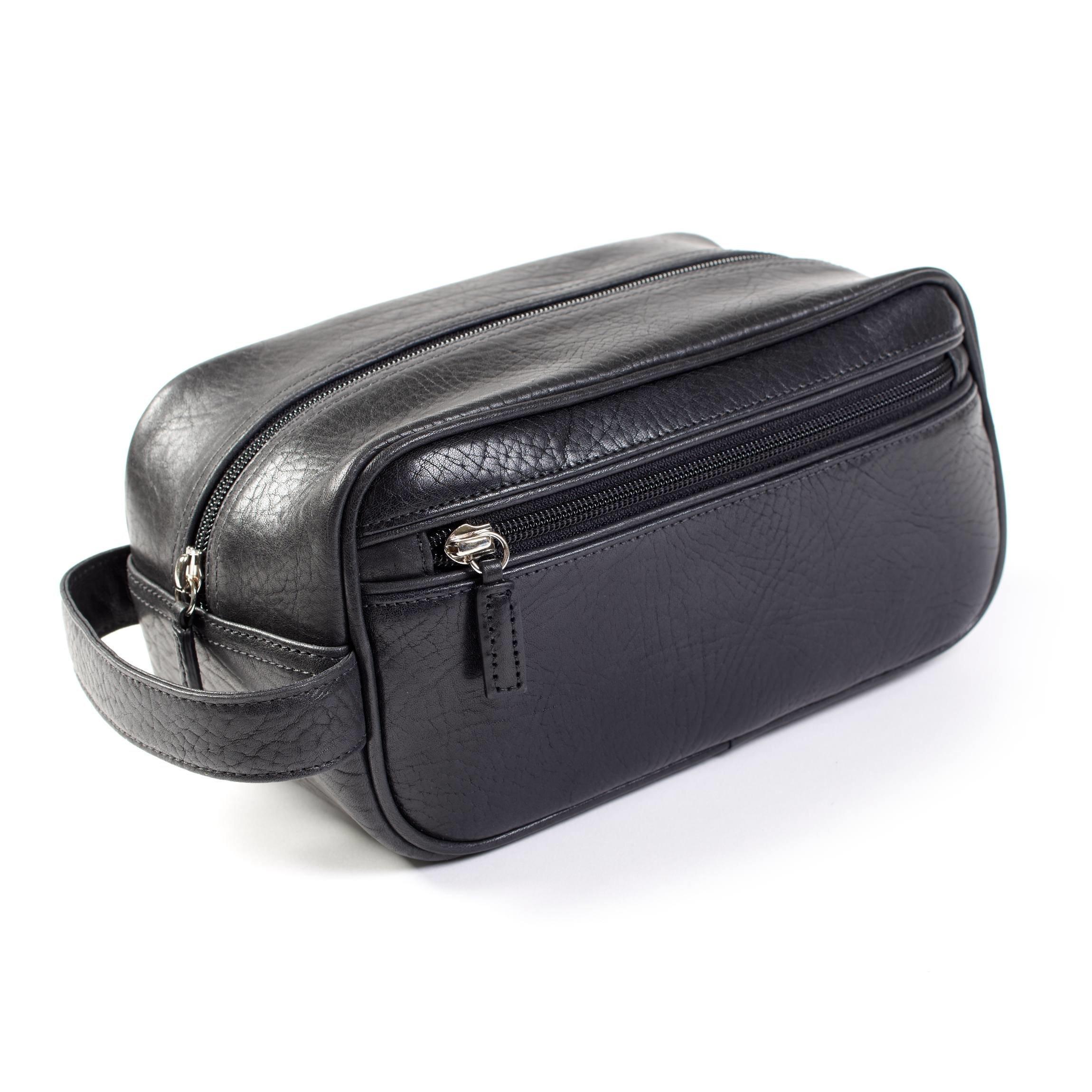 Leatherology Small Shave Toiletry Bag - Italian Leather - Ebony (black)