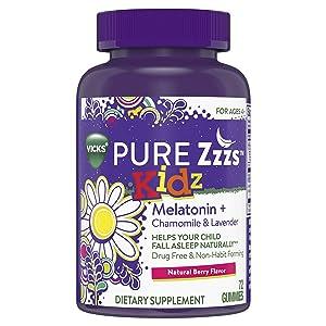 Vicks Pure Zzzs Kidz Melatonin Lavender & Chamomile Sleep Aid Gummies for Kids & Children, Pure Zzz Kids Gummies, 72 ct