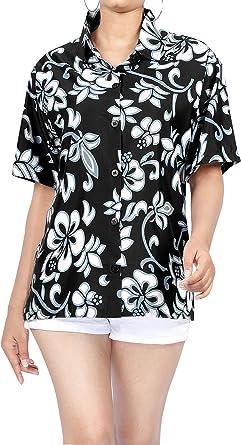 LA LEELA para Mujer para Cubrir la Camisa Hawaiana Playa hasta con Botones de Manga Corta de Cuello Aloha XXL Halloween Negro_W908: Amazon.es: Ropa y accesorios