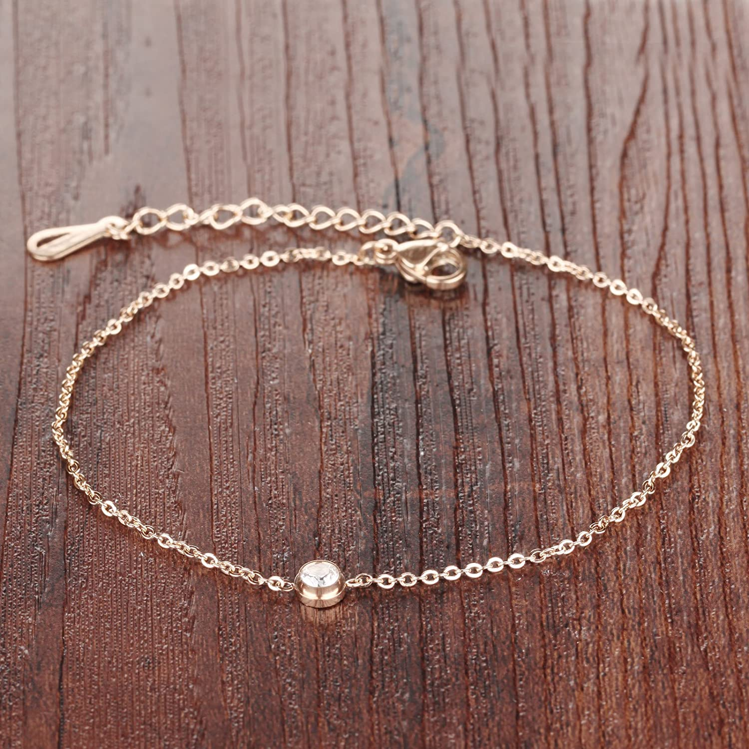 TOMLEE Women Gold Plated Stainless Steel Anklet Sideways Cross Charm Beach Ankle Chain Bracelet Foot Jewelry with Extension Gift