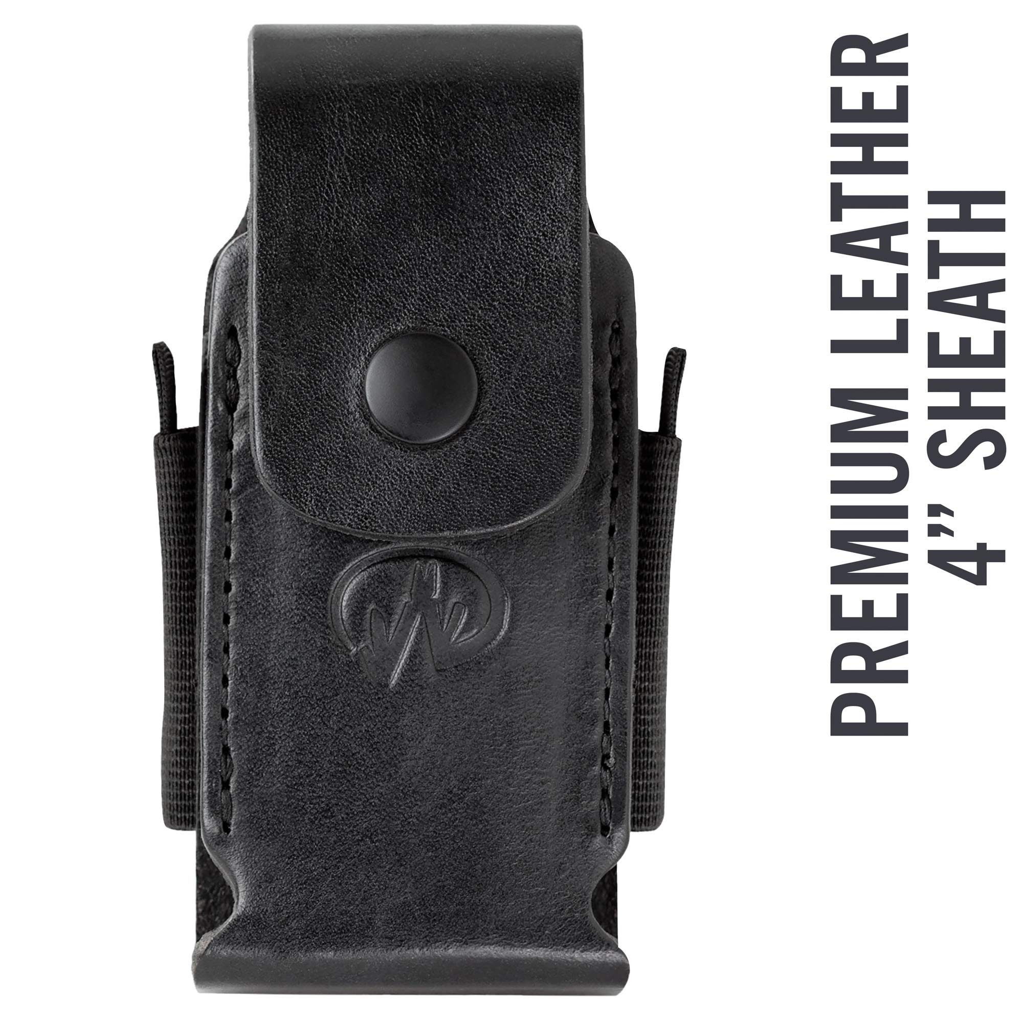 Leatherman - Premium Leather Sheath with Pockets, Fits 4'' Tools - Black