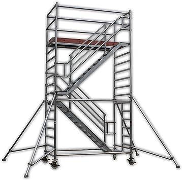A & M Escaleras Torre Altura de trabajo 6,3 m gegenläufig de aluminio, ruedas de transporte, Roll Andamio/conducción Andamio/escalera de incendios/Etapa de trabajo/andamio Torre/Universal Andamio/oblicuo Aufstieg/escalera Andamio: Amazon.es: Bricolaje ...