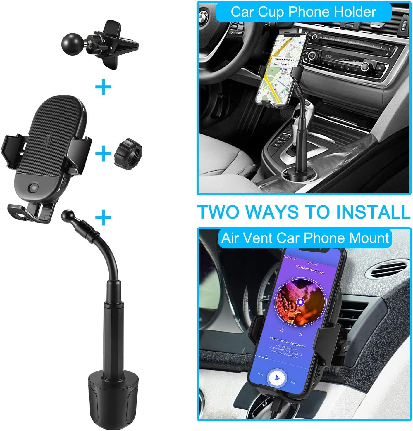 Max 15W Qi Wireless Car Charger Cup Phone Holder//Air Vent Phone Holder Compatible with iPhone Samsung and Other Qi Smartphone Lorima Cup Holder Phone Mount Wireless Charger