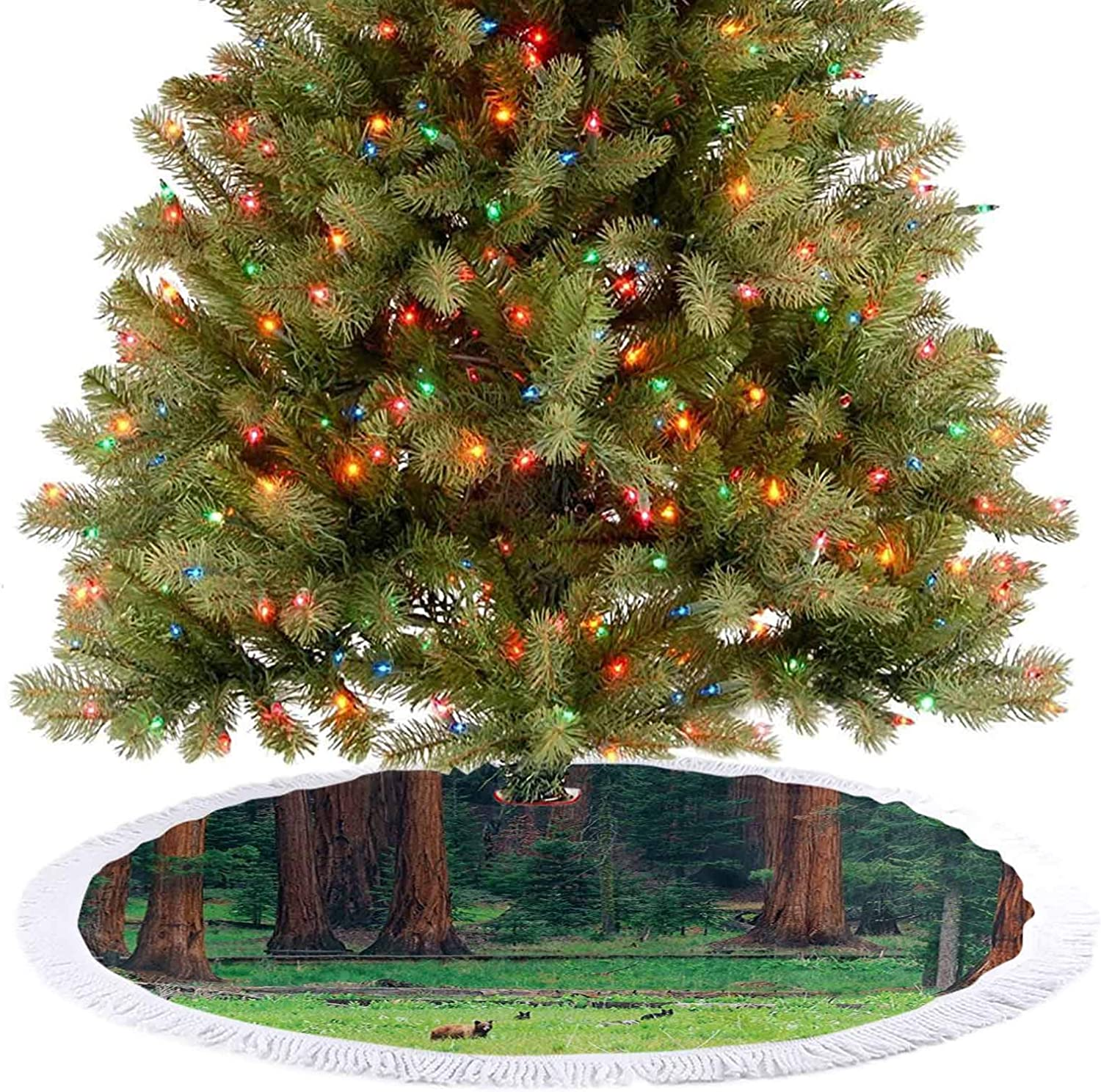 Adorise Tree Skirt Decor Baby Bears on Field in Nature Area Recreation Rest Sequoia Tree Green Brown New Year Festival Ornament Supplies for Christmas Holiday Party Decorations - 30 Inch