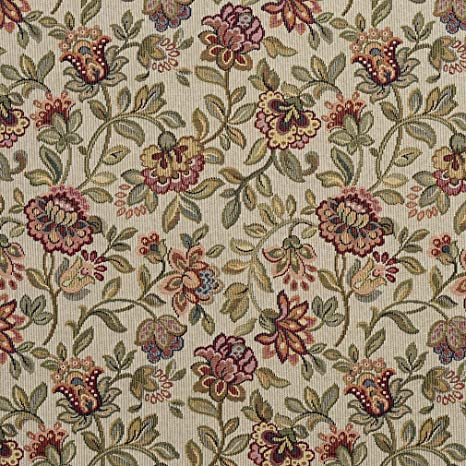 beige and greens. Upholster Fabric floral shades of reds pinks