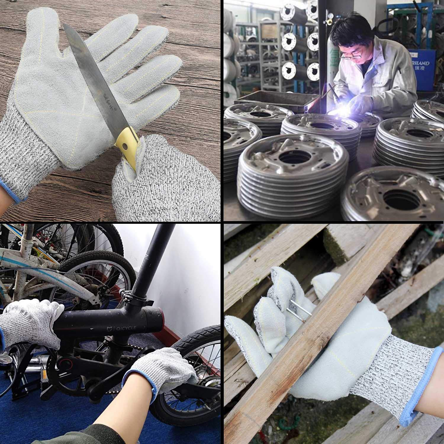 EnPoint Heavy Duty Mechanic Work Gloves 11cm// 4.3in Palm Width Split Leather Glove with Knitted Cuff Wrist Power Grip for Motorcycle Repairing Welding Gardening Construction Industrial Safety Gloves