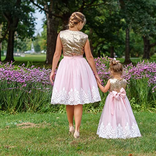 6cb0948e9c Amazon.com: Mother daughter matching tutu lace dress, Gold sequin dresses,  blush girls party dress, Mommy and Me birthday dress: Handmade