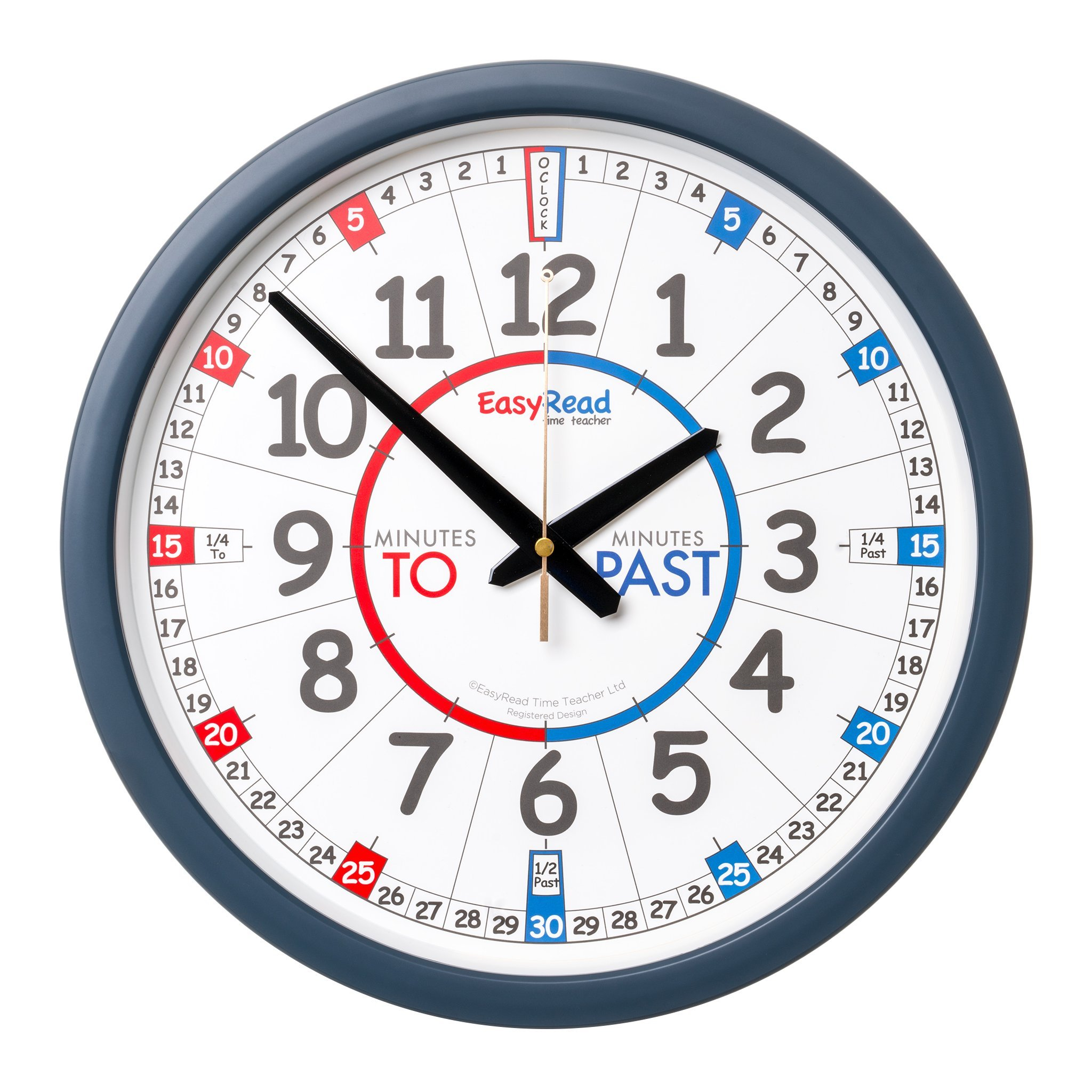 EasyRead Time Teacher Children's Wall Clock with simple 3-Step Teaching System using minutes past & minutes to method, 14'' dia, learn to tell the time, ages 5-12