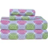 Pointehaven Heavy Weight Printed Flannel Queen Sheet Set, Starburst Print