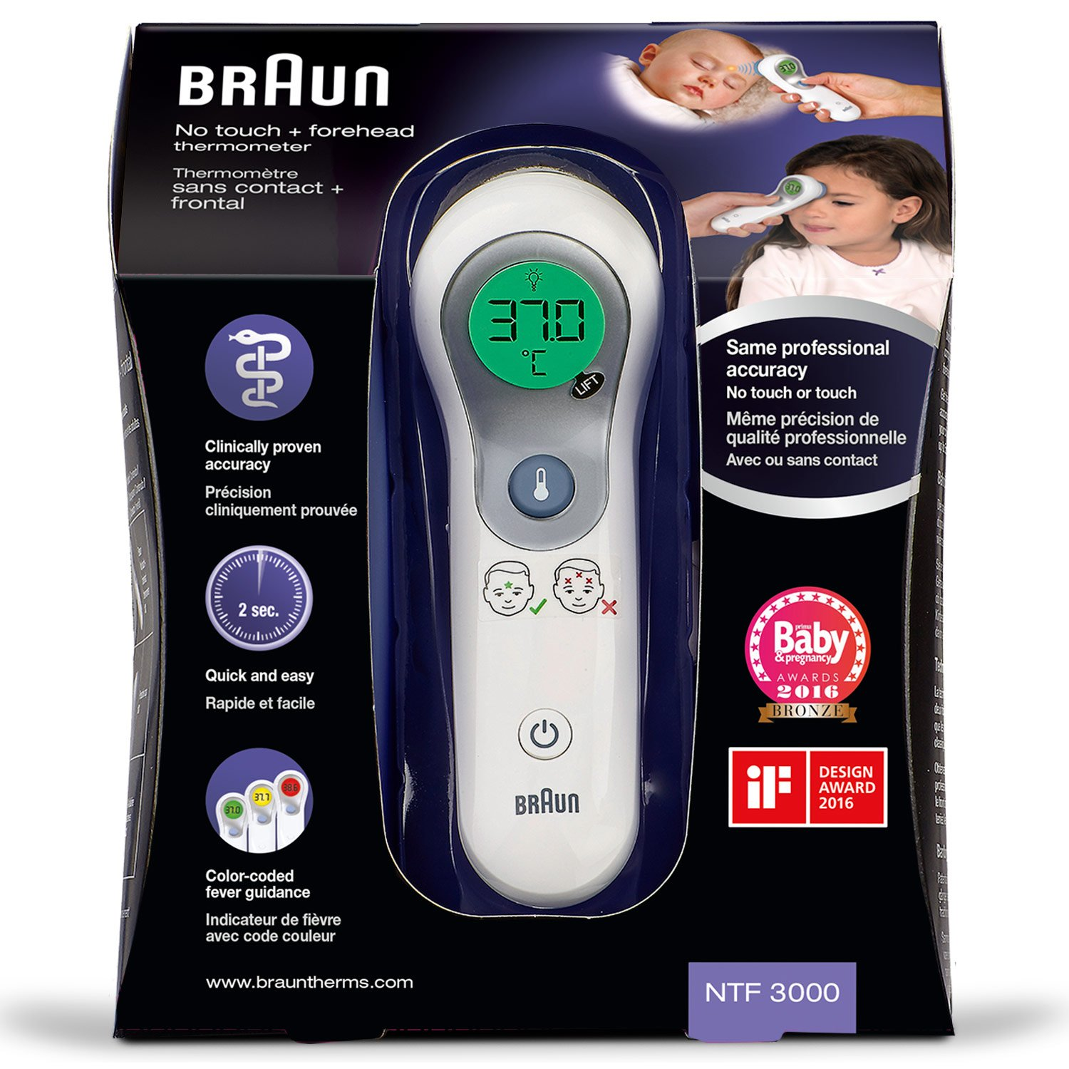 Braun Thermometer 2 in 1 No-Touch + Front