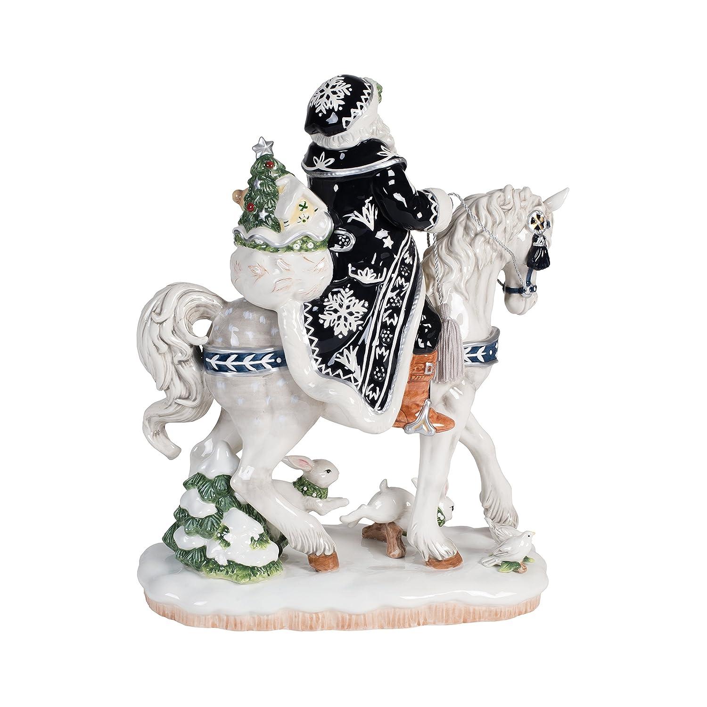 Fitz and Floyd Bristol Holiday Santa ON Horse Figurine,