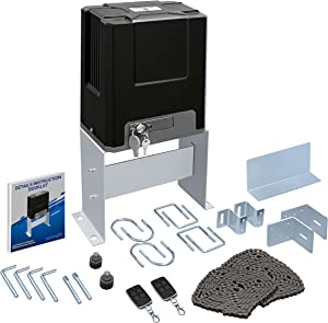 Serene Life Automatic Kit-Electric Rolling Driveway Opener w/Complete Hardware Security System, 2 Remotes, Auto-Close, for Sliding Gate Up to 26 Ft/1,322 Lb-SereneLife SLGATEOP
