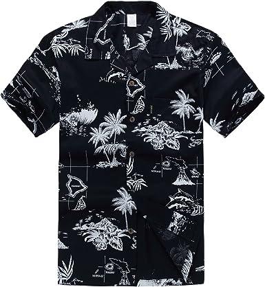 Hombres Aloha camisa hawaiana en Puesta del sol y Paisaje Azul Marino: Amazon.es: Ropa y accesorios