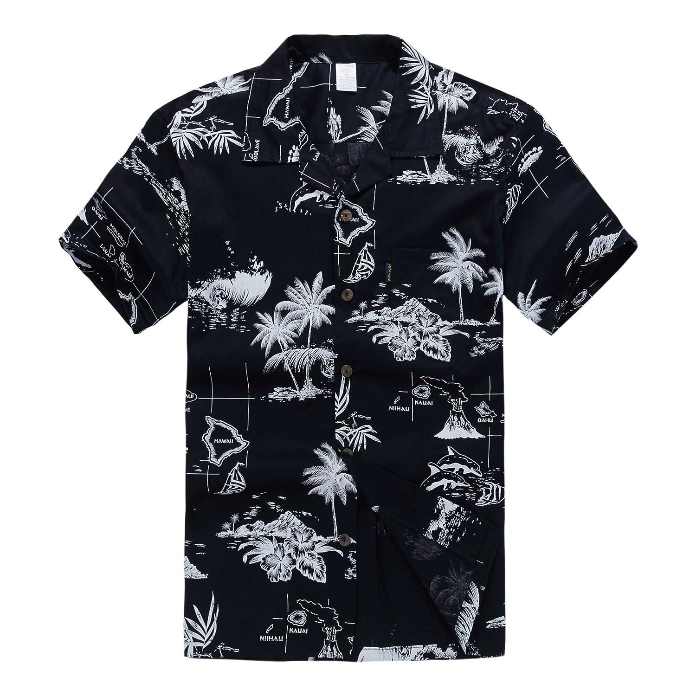TALLA S. Hombres Aloha camisa hawaiana en Puesta del sol y Paisaje Azul Marino