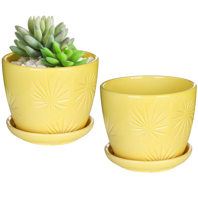 MyGift Set of 2 Yellow Sunburst Design Ceramic Flower Planter Pots Decorative Plant Containers with Saucers