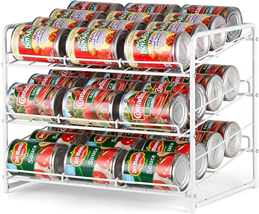 Amazon Com Auledio Stackable Can Rack Organizer For Kitchen Cabinet Pantry Organization And Storage Dispenser Holds 36 Soda Cans Or Canned Food Metal White White Kitchen Dining