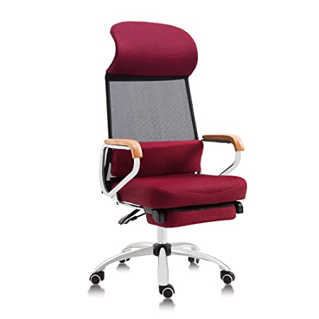 Reclining Office Chair Mesh High Back Executive Chair Ergonomic Breathable Design with Retractable Footrest,Red