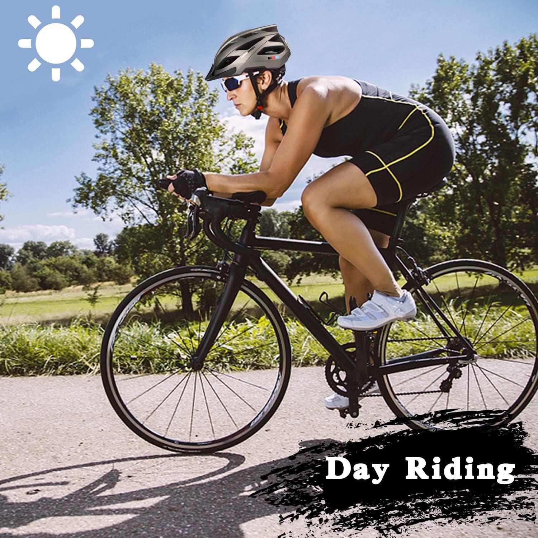 Unisex-gesch/ützter Fahrradhelm f/ür Radrennen Skateboardfahren im Freien Sicherheit Superleichter Verstellbarer mit CE-Zertifikat KINGLEAD Fahrradhelm mit wiederaufladbarem LED-Licht
