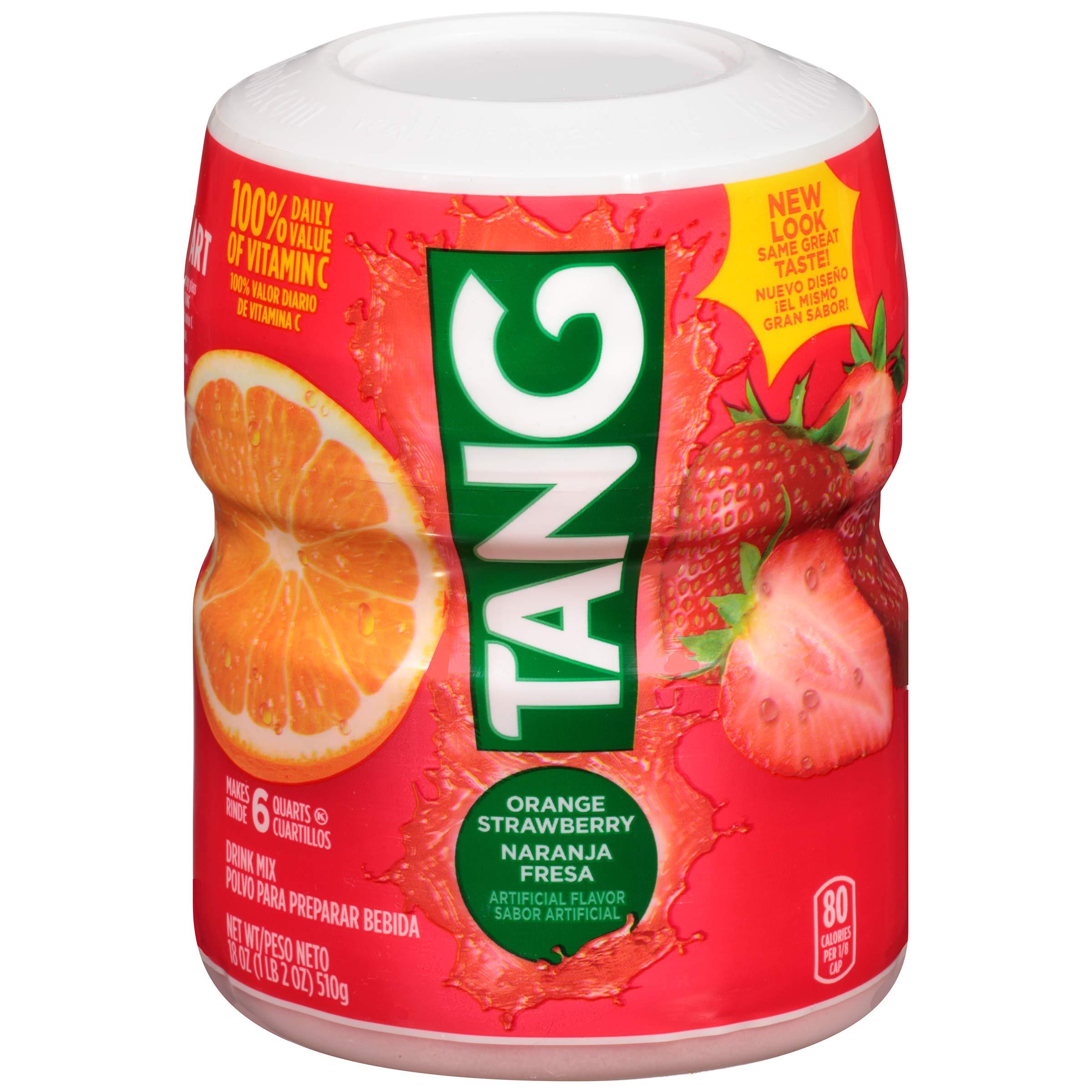 Tang Orange Strawberry Powdered Drink Mix (18 oz Jars, Pack of 12)