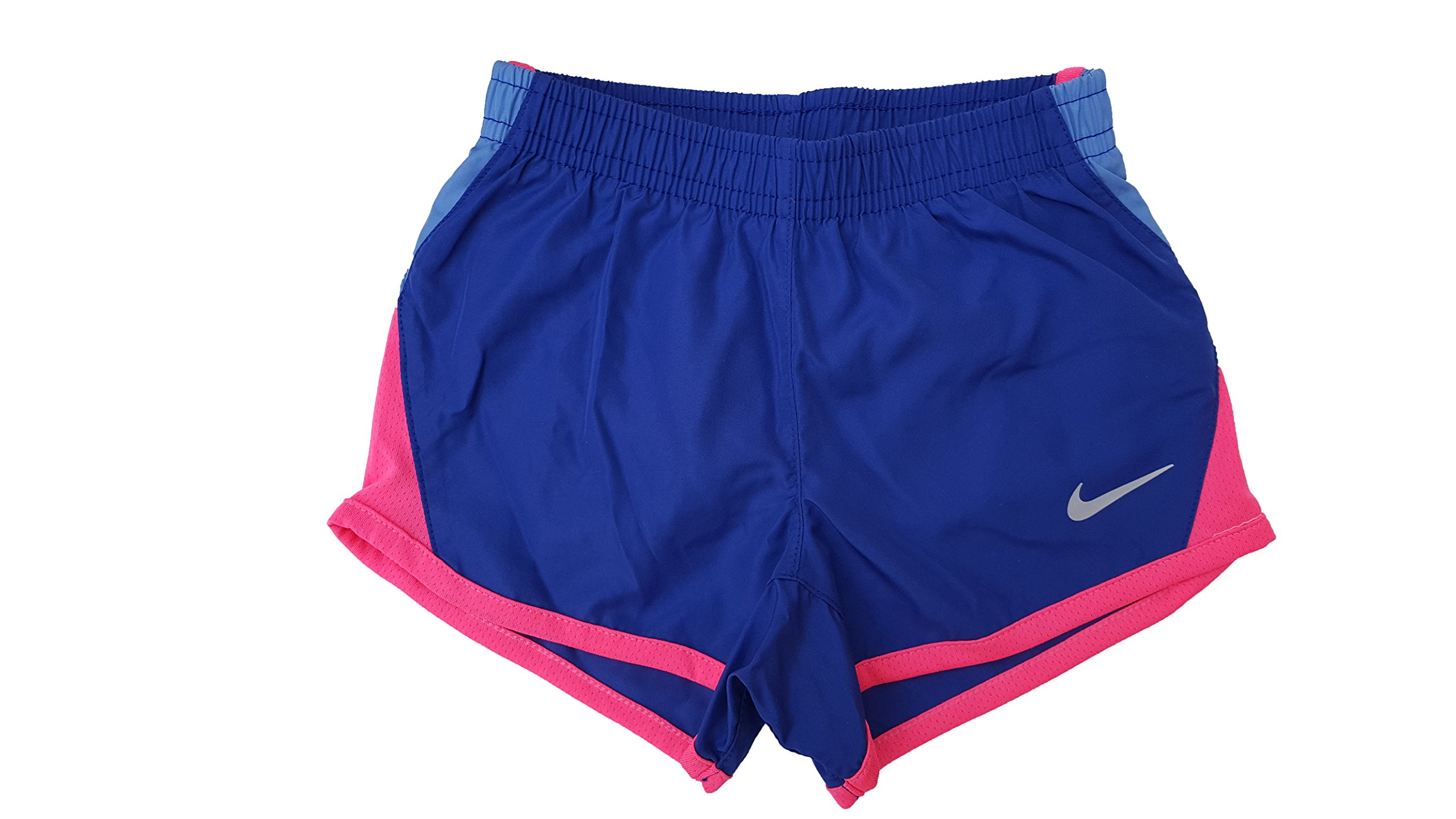 Nike Little Girls 10K Woven Colorblocked Running Shorts,Deep Night (603) / Pink/Reflective Silver,2T